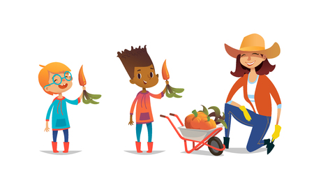 Laughing multiracial children holding carrots and female agricultural worker dressed in rubber boots and straw hat standing on one knee beside wheelbarrow full of pumpkins. Vector illustration. Illustration