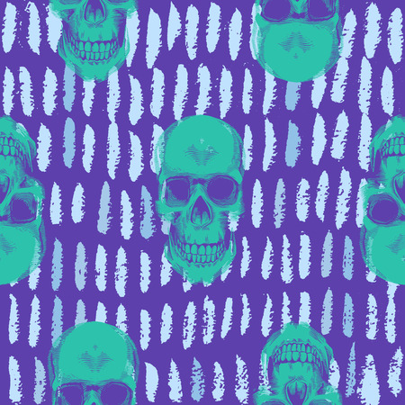 Psychedelic seamless pattern with green human skulls drawn against purple background with short blue paint traces. Vector illustration in pop art style for wallpaper, textile print, wrapping paper. Illustration