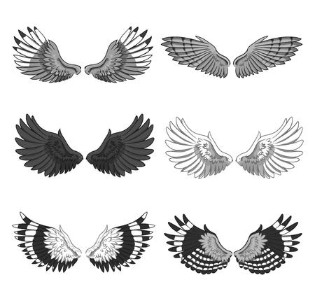 Inzameling van 6 paren elegante vogel of engelen uitgespreide die vleugels op witte achtergrond worden geïsoleerd. Symbool van vlucht en vrijheid. Monochrome vectorillustratie voor logo, banner, advertentie, tatoeage.