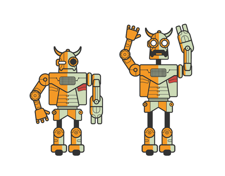 Set of two toy electronic robots expressing different emotions isolated on white background. Android standing in calm position and with raised hands and opened mouth. Cartoon vector illustration. Illustration