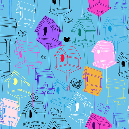 Pattern with colorful birdhouse