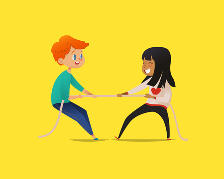 Redhead boy and dark haired girl pulling opposite ends of rope. Tug of war contest between kids of different gender. Concept of sports game or competitive activity for children. Vector illustration