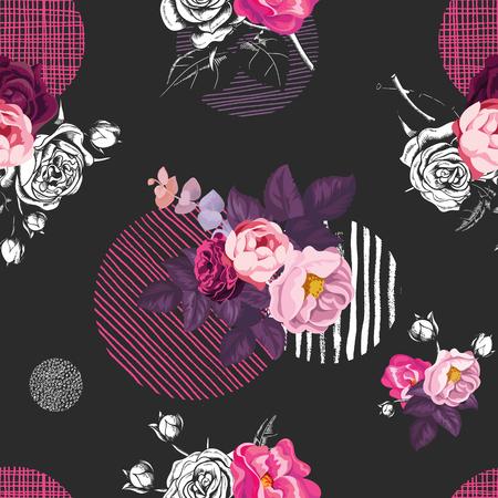 野生のバラの花の花束を半分色と黒の背景の異なるテクスチャの円エレガントなシームレス パターン。生地のビンテージ スタイルのベクトル図を印