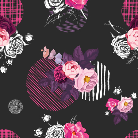 Elegant seamless pattern with half-colored bouquets of wild rose flowers and circles of different textures on black background. Vector illustration in vintage style for fabric print, wrapping paper Illustration