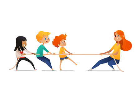 Tug of war competition between children and adult. Smiling multiracial kids and redhead woman pulling opposite ends of rope. Cute cartoon characters isolated on white background. Vector illustration