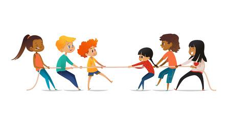 Animado meninos e meninas puxando a corda. Competição de cabo de guerra entre equipes de duas crianças. Conceito de atividade esportiva para crianças. Personagens de desenhos animados engraçados isolados no fundo branco. Ilustração vetorial