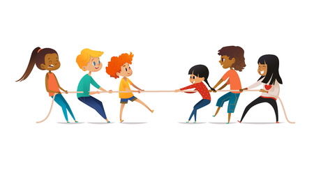 Excited boys and girls pulling rope. Tug of war competition between two children teams. Concept of sports activity for kids. Funny cartoon characters isolated on white background. Vector illustration