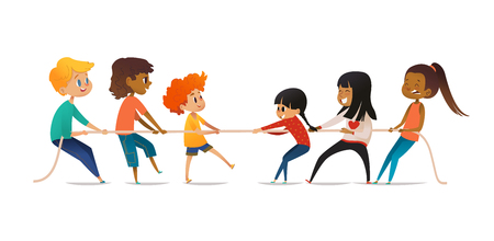 Concurso de conflitos entre meninos e meninas. Dois grupos de crianças de sexo diferente puxando extremidades opostas da corda. Conceito de igualdade de gênero entre crianças, esportes de equipe. Ilustração vetorial para banner