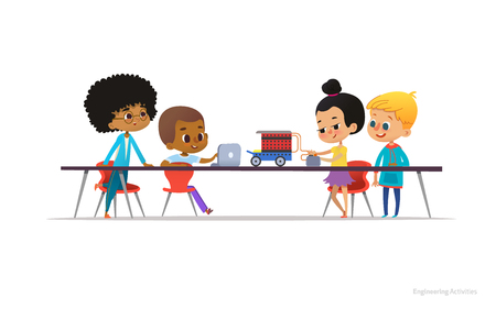 School kids constructing and programming electronic robotic car. Multiracial children sitting at desk and building electronic toy during engineering lesson. Vector illustration for banner, poster Illustration