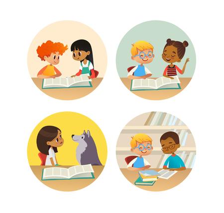 Colección de niños sonrientes leyendo libros y hablando entre sí en la biblioteca de la escuela. Conjunto de niños de la escuela discutiendo literatura en marcos redondos. Ilustración de vector de dibujos animados para banner, cartel. Ilustración de vector