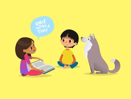 Schattig klein meisje zit op de vloer en vertelt sprookje aan haar vriend en hond. Kinderen lezen sprookjesboek. Concept van educatieve activiteit voor kinderen. Cartoon vectorillustratie voor poster. Stock Illustratie