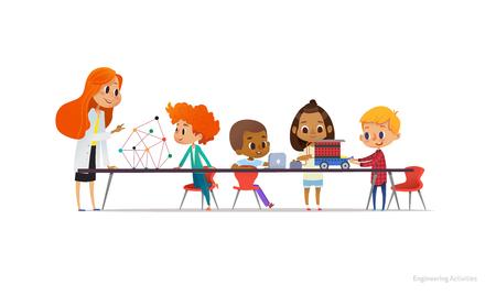Rousse enseignante et les écoliers debout et assis autour de la table, la construction et la programmation de la voiture robotisée au cours de la leçon d'ingénierie. Illustration vectorielle pour bannière, affiche, publicité Vecteurs