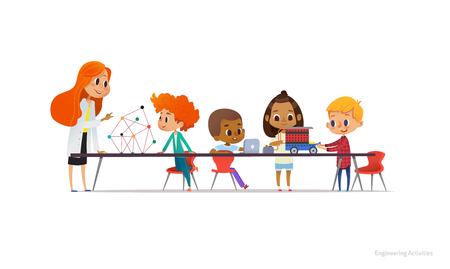 Redhead female teacher and school children standing and sitting around table, building and programming robotic car during engineering lesson. Vector illustration for banner, poster, advertisement