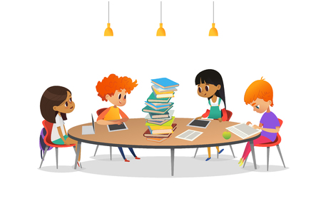 Group of school children sitting around circular table with large pile of books on it, reading and preparing for lesson. Multiracial kids at library. Modern vector illustration for banner, poster.