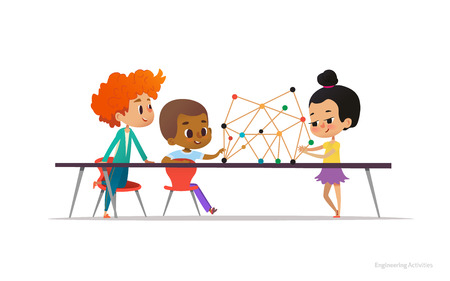 Multiracial boys and girl standing and sitting around table with structural model of molecule on it. Concept of molecular engineering for school children. Vector illustration for banner, poster