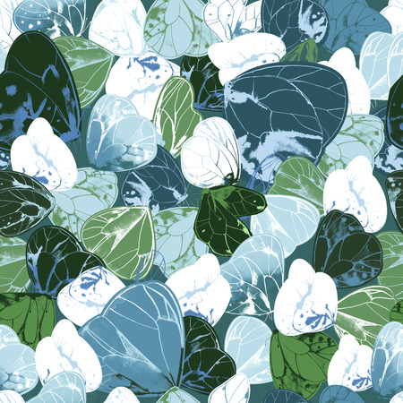 Seamless pattern with beautiful green, blue and white butterflies. Elegant backdrop with gorgeous winged flying insects. Colorful  illustration for wrapping paper, wallpaper, textile print.