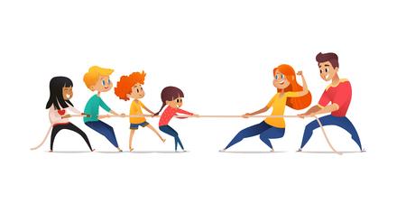 Mamá, papá e hijos tirando de los extremos opuestos de la cuerda. Concurso de tira y afloja entre padres e hijos. Concepto de actividad deportiva familiar, conflicto generacional. Ilustración vectorial de dibujos animados
