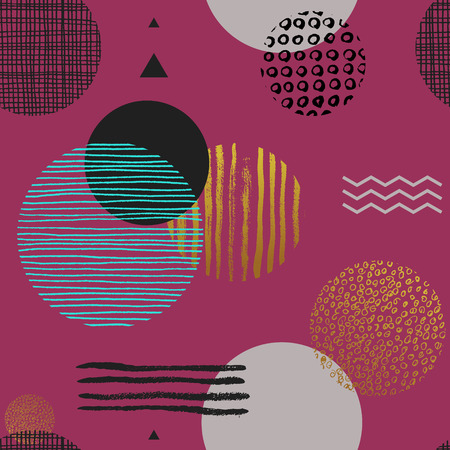 Modern simple seamless pattern with geometric figures and lines of various colors and textures on pink background. Trendy abstract backdrop. Vector illustration in Memphis style for textile print.