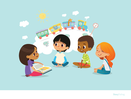 Cute little girl holding book and telling story to her friends, sitting around on floor and imagining animals traveling on train. Smiling children listening to fairy tale. Vectores