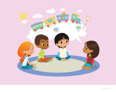 Girl telling fairy tale to other children sitting on round carpet against cartoon train with colorful cars inside speech bubble on background. Kids listening to storyteller. Vector illustration.  イラスト・ベクター素材