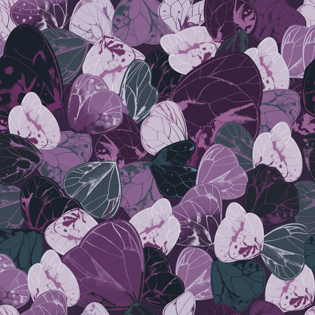 Natural seamless pattern with exotic butterflies or moths with purple and gray wings. Beautiful backdrop with lovely flying insects.  illustration for wrapping paper, wallpaper, fabric print.