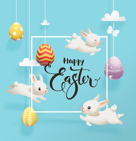 Festive decorated eggs hanging on strings against blue sky on background, funny little bunnies. Ilustração