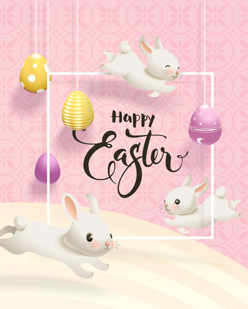 Easter flyer or postcard template with colorful eggs hanging on strings, cute bunnies, square border and hand written inscription against pink and yellow textured background. Vector illustration.