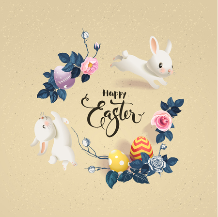 Happy Easter inscription surrounded by decorated eggs, cute white bunnies and beautiful half colored rose flowers. Holiday wish and seasonal decorations. Vector illustration for greeting card, banner. Illustration