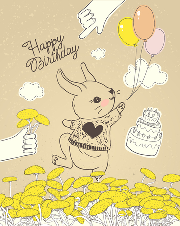 Hand drawn rabbit with colorful balloons on floral meadow. Can be used for baby shower celebration greeting card, happy birthday and invitation card, baby t-shirt, fashion print, kids wear design.