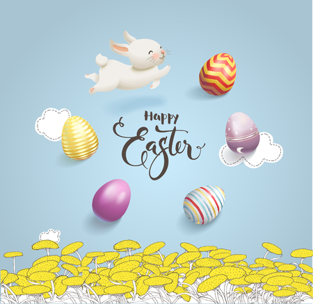 Happy Easter inscription handwritten with eggs