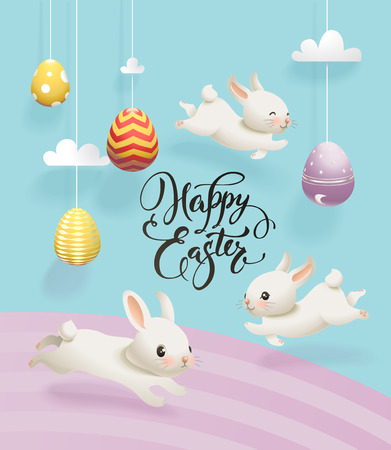 Colorful decorative eggs hanging on strings, clouds, cute white rabbits and Happy Easter hand written inscription.