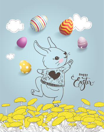Cute hand drawn bunny on dandelion field, colorful eggs, Happy Easter inscription handwritten with calligraphic font on blue background.