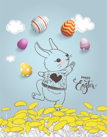 Leuk hand getrokken konijntje op paardebloemgebied, kleurrijke eieren, Gelukkige Pasen-inschrijving met de hand geschreven met kalligrafische doopvont op blauwe achtergrond.