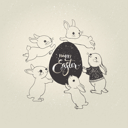 Egg with Happy Easter inscription and cute little bunnies jumping around it. Holiday symbols and elegant hand lettering.