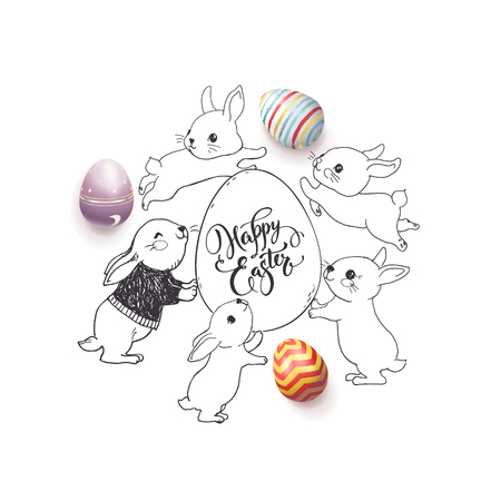 Hand drawn Happy Easter wish handwritten with calligraphic font, colorful decorated eggs and cute rabbits around it.