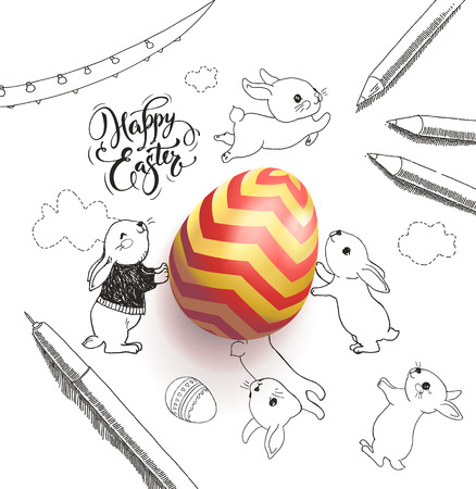 Bright colored egg surrounded by Happy Easter holiday wish handwritten with calligraphic font.