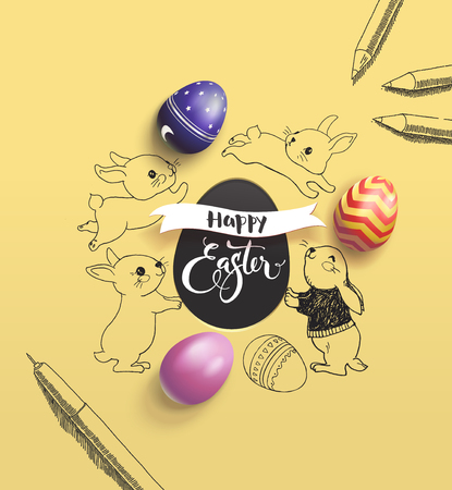 Happy Easter holiday wish surrounded by lovely baby bunnies, colorful decorative eggs, pen and pencil on yellow background. Ilustrace