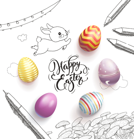 Happy Easter lettering handwritten with calligraphic font, surrounded by colorful eggs, cute baby bunny, dandelions, clouds, pen, pencils, garland hand drawn with contour lines vector illustration. Banque d'images - 95016092