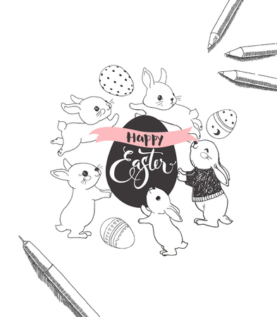Egg with Happy Easter handwritten inscription, surrounded by cute bunnies, pen and pencils hand drawn with contour lines. Ilustrace
