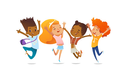 Joyous school friends happily jumping with their hands up against purple background. Concept of true friendship and friendly meeting. Vector illustration for website banner, poster, flyer, invitation. Vectores