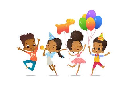 Grupa afroamerykańskich szczęśliwych chłopców i dziewcząt z balonami i urodzinowymi czapkami Ilustracje wektorowe