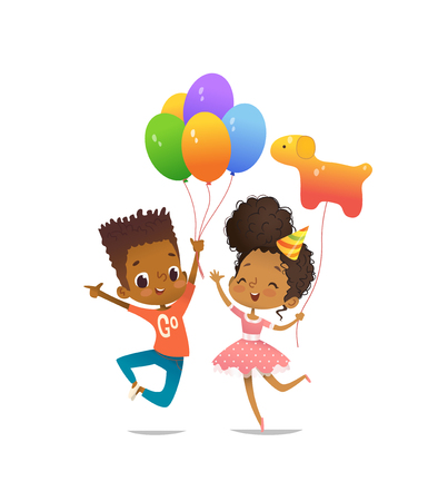 Joyous African-American boy and girl with the balloons and birthday hat happily jumping with their hands up. Vector illustration for birthday party flyer, website banner, poster, invitation.
