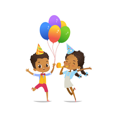 Happy African-American Kids with the balloons and birthday hat happily jumping on white background. Vector illustration for birthday party flyer, website banner, poster, flyer, invitation. Isolated.