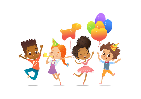Excited multiracial boys and girls with the balloons and birthday hats happily jumping with their hands up. Birthday party Vector illustration for website banner, poster, flyer, invitation. Isolated.
