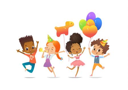 Opgewonden multiraciale jongens en meisjes met de ballonnen en verjaardagshoeden vrolijk springend met hun handen omhoog. Verjaardagsfeestje Vector illustratie voor website banner, poster, flyer, uitnodiging. Geïsoleerd. Stock Illustratie