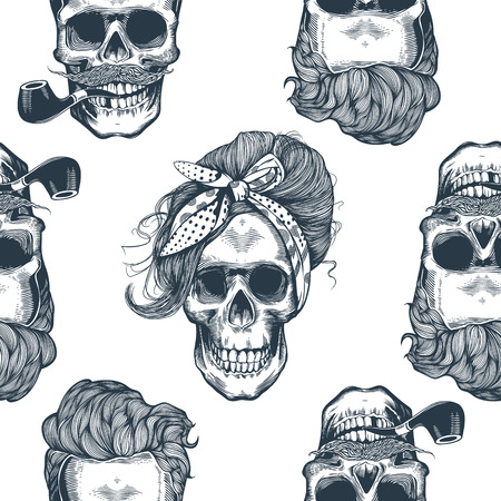 Seamless pattern in pop art style with skeleton women's heads Stock Illustratie