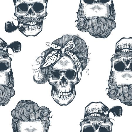 Seamless pattern in pop art style with skeleton women's heads Illustration