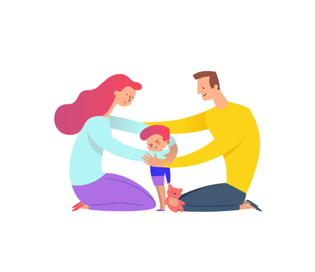 Mother and father cuddling with their son. Concept of family love and support. Illustration