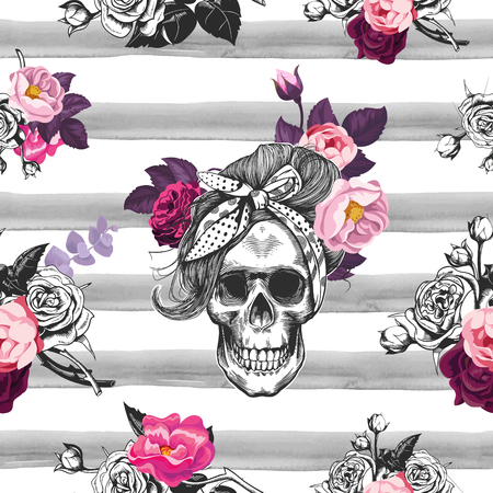 Hipster seamless pattern with skull silhouettes, flowers roses and watercolor stripes at the background. Skull silhouette in engraving. Black and white.