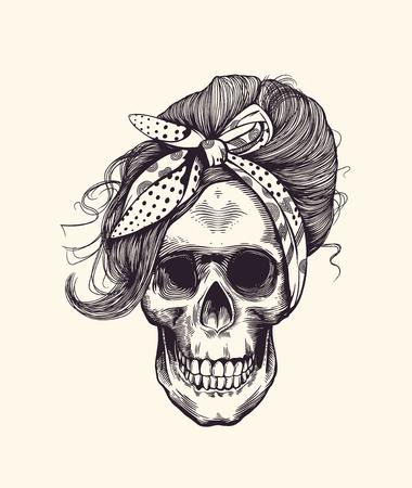 crâne humain élégant avec coiffure à la mode et de la main de foulard dans le style de gravure de bois . illustration de vecteur